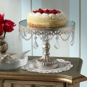 """Antique Silver Beaded 10"""" Wide Small Cake Stand"""