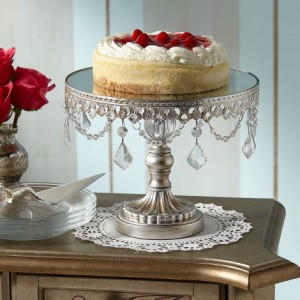"Antique Silver Beaded 10"" Wide Small Cake Stand"