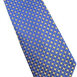 Michael Kors 100% Silk Patterend Men's Neck Tie Royal Blue Yellow